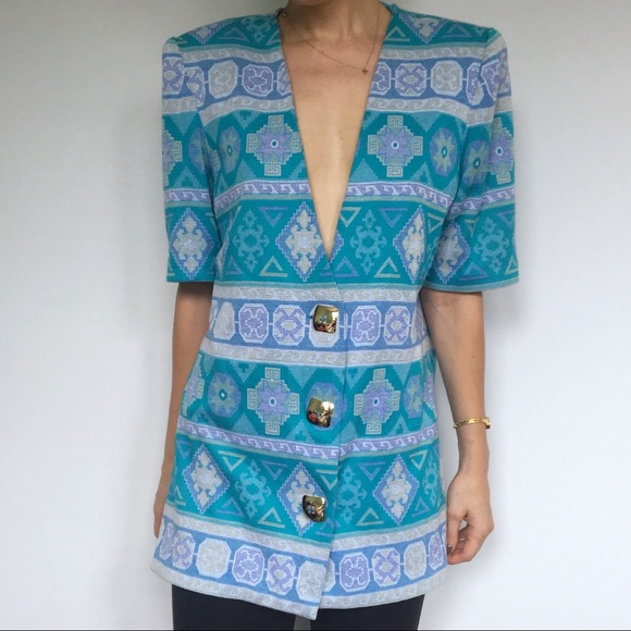 Vintage Jackets & Blazers - Vintage Aztec Print Blazer Lady Carol of New York
